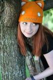 Muchacha linda con las pecas y el sombrero Fotos de archivo libres de regalías
