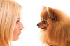 Muchacha linda con un perro Foto de archivo libre de regalías