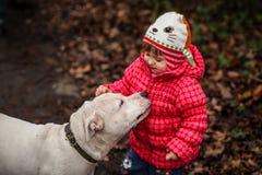Muchacha linda con un perro imagen de archivo