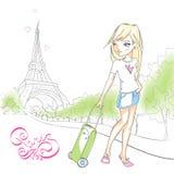 Muchacha linda con una maleta en el fondo de la torre Eiffel Fotos de archivo