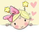 Muchacha linda de la historieta con los corazones libre illustration