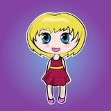 Muchacha linda de la historieta del animado pequeña con el pelo rubio Imagen de archivo