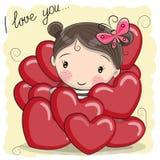 Muchacha linda de la historieta en corazones ilustración del vector