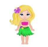 Muchacha linda de la historieta en traje hawaiano tradicional del bailarín ilustración del vector