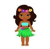 Muchacha linda de la historieta en traje hawaiano tradicional del bailarín stock de ilustración