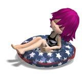 Muchacha linda de la historieta que se sienta en un tubo inflable Imagen de archivo libre de regalías