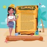 Muchacha linda de la playa con la muestra de madera a la presentación icono determinado del verano, s Fotos de archivo