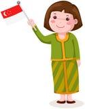 Muchacha linda de Singapur en ropa tradicional con la bandera stock de ilustración