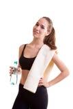 Muchacha linda del adolescente con la toalla en hombro y la botella en manos Imagen de archivo libre de regalías