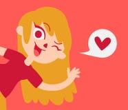 Muchacha linda del amante que muestra en la pantalla stock de ilustración