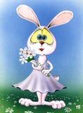 Muchacha linda del conejo de pascua watercolor Foto de archivo