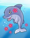 Muchacha linda del delfín en el mar Fotos de archivo