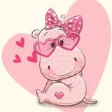 Muchacha linda del hipopótamo stock de ilustración
