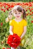 Muchacha linda del niño en campo de la amapola Fotos de archivo