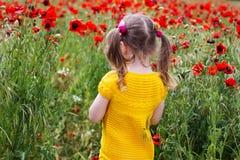 Muchacha linda del niño en campo de la amapola Foto de archivo