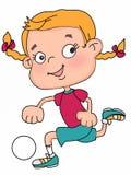 Muchacha linda del niño que juega el ejemplo blanco de la historieta del fondo del ejemplo del fútbol stock de ilustración