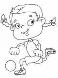 Muchacha linda del niño que juega el ejemplo blanco de la historieta del fondo del ejemplo del fútbol ilustración del vector