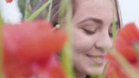 Muchacha linda del retrato del primer que mira la cámara que se sienta en campo de la amapola Muchacha sonriente feliz linda que  almacen de video