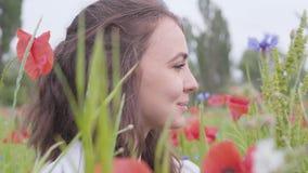 Muchacha linda del retrato del primer que se sienta en campo de la amapola Muchacha sonriente feliz linda que descansa al aire li almacen de metraje de vídeo