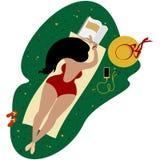 Muchacha linda del tamaño extra grande de Bodypositive en un traje de baño rayado stock de ilustración
