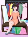 Muchacha linda del vector asiático hermoso que se sienta en banco en interior de una tienda con compras, regalos y presentes Vent stock de ilustración