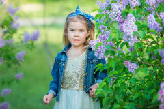 Muchacha linda en chaquetas azules con la falda airosa de hadas que se coloca cerca de arbusto de lila Imágenes de archivo libres de regalías