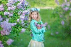 Muchacha linda en chaquetas azules con la falda airosa de hadas que se coloca cerca de arbusto de lila Foto de archivo libre de regalías