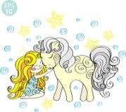 Muchacha linda en corona con el caballo y las estrellas Ilustración drenada mano del vector Fotografía de archivo