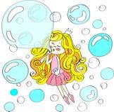 Muchacha linda en el vuelo de la corona con los soapbubbles Ilustración drenada mano del vector Fotografía de archivo libre de regalías