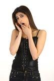 muchacha linda en la expresión de bostezo Fotos de archivo libres de regalías
