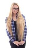 Muchacha linda en lentes con el pelo largo hermoso aislado en whi Fotos de archivo libres de regalías