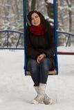 Muchacha linda en patio en invierno Fotos de archivo