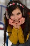 Muchacha linda en patio en invierno Fotografía de archivo libre de regalías