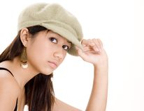 Muchacha linda en un sombrero lindo Imágenes de archivo libres de regalías