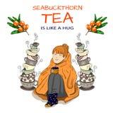 Muchacha linda envuelta en manta con las tazas de té apiladas y el espino cerval de mar dibujado mano Imagen de archivo