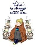 Muchacha linda envuelta en manta con las tazas de té apiladas y las letras dibujadas mano Fotografía de archivo libre de regalías