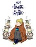 Muchacha linda envuelta en manta con las tazas y las letras apiladas de té: el té del ` es siempre un buen ` de la idea Imagen de archivo