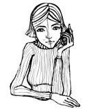 Muchacha linda ilustrada con el teléfono Fotos de archivo