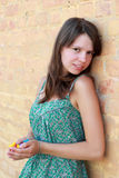 Muchacha linda joven sonriente sobre la pared de ladrillo Fotografía de archivo libre de regalías