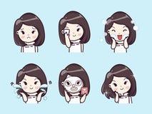 Muchacha linda limpia del tratamiento de la cara y de la máscara ilustración del vector