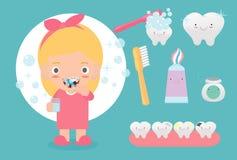 Muchacha linda que cepilla sus dientes, niño que cuida para los dientes, niño que cepilla sus dientes, ejemplo divertido del vect ilustración del vector