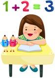 Muchacha linda que estudia matemáticas stock de ilustración
