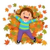 Muchacha linda que juega con las hojas que caen stock de ilustración