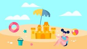 Muchacha linda que juega en el ejemplo del vector de la playa libre illustration