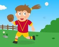 Muchacha linda que juega a softball en el parque libre illustration