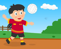 Muchacha linda que juega a voleibol en el parque libre illustration