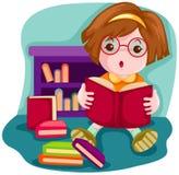 Muchacha linda que lee un libro libre illustration