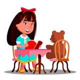 Muchacha linda que lee un libro A Toy Bear Vector suave Ilustración aislada libre illustration
