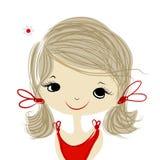 Muchacha linda que sonríe, bosquejo para su diseño ilustración del vector