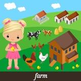 Muchacha linda que sostiene un pollo Imagen de archivo libre de regalías